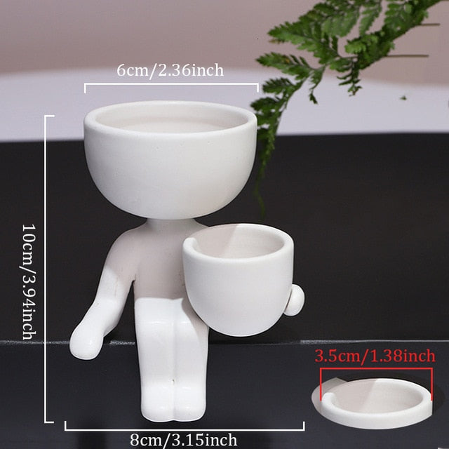 Humanoid Ceramic Flower Pot Character Sitting Posture Sculpture Vase
