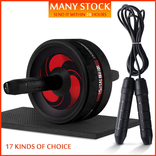 New 2 in 1 Ab Roller & Jump Rope No Noise Abdominal Wheel Ab Roller with Mat