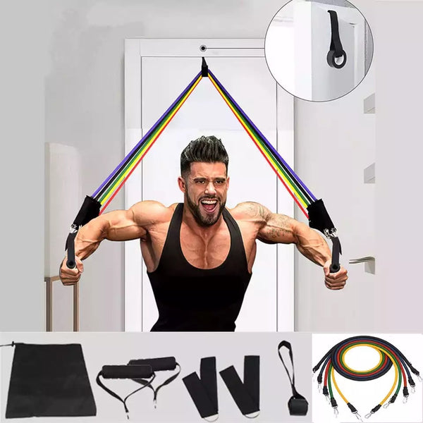 11Pcs/Set Latex Tube Resistance Bands Yoga Fitness Gym Equipment Exercise Pull Rope