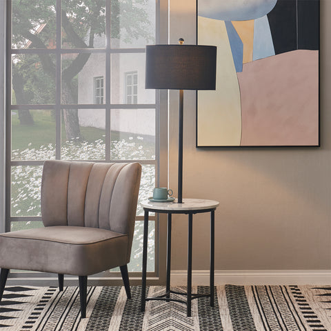 Teamson Floor lamp with Faux Marble Table Black Shade and Black Finish Legs