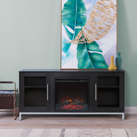 """Lainey 54"""" Fireplace TV Stand with 18"""" Insert - Black"""