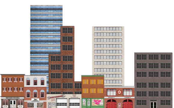 Deluxe O Scale Model Train Background Kit with Storefronts Industrial and High-rises (Set B)