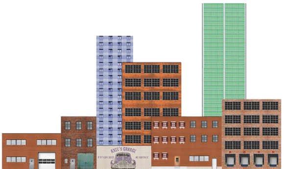 Deluxe O Scale Model Train Background Kit with Storefronts Industrial and High-rises (Set C)