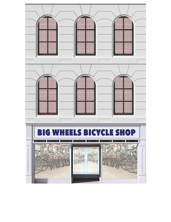 Big Wheels Bicycle Shop Paper Building Kit