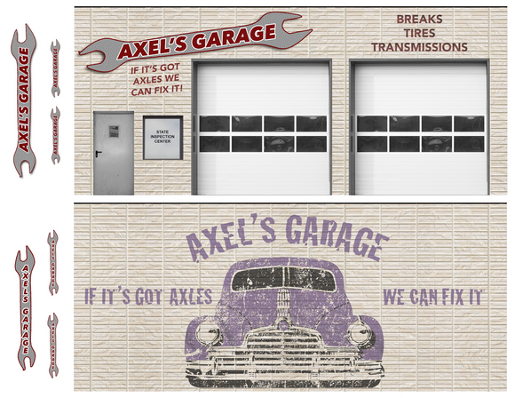 Axel's Garage Paper Building Kit w/ Interior