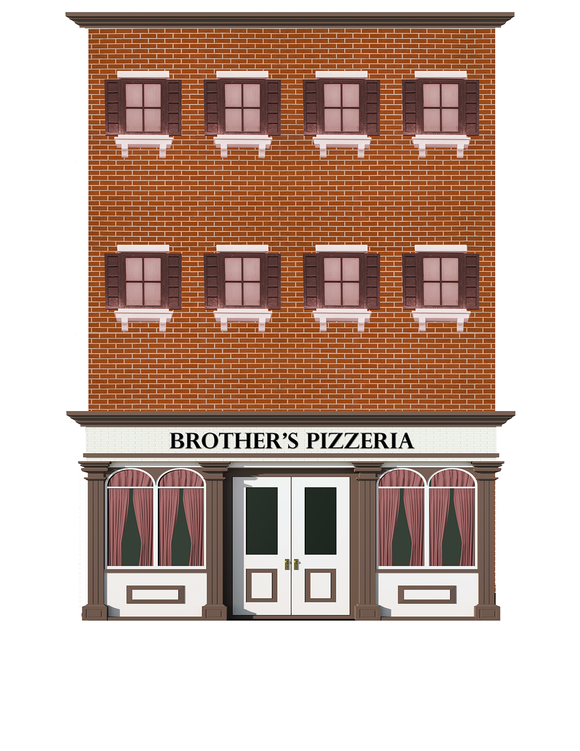 Brother's Pizzeria Restaurant Paper Building Kit