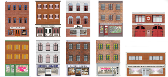 Main Street Storefronts Paper Building Fronts - 10 Flat Storefronts
