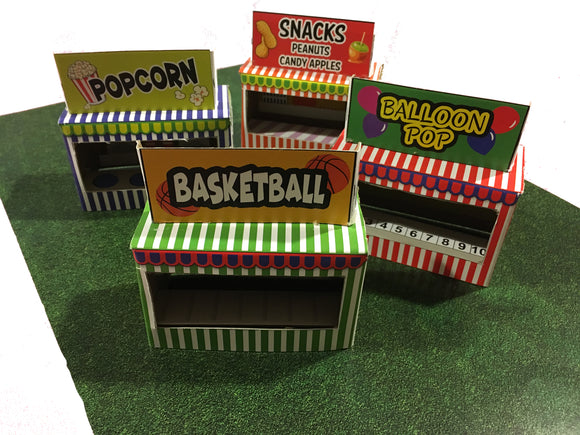 Circus Carnival Booth Stand Kit - Makes 4 Game Refreshment Stan