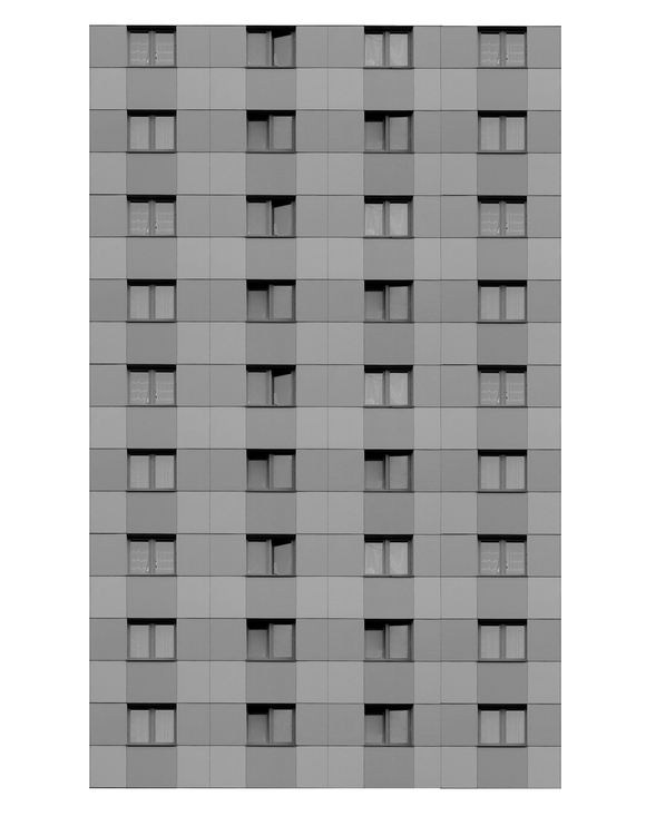 Gray Modern Highrise Multi-story Paper Building Sheet