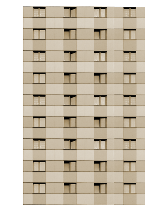 Tan Modern Highrise Multi-story Paper Building Sheet