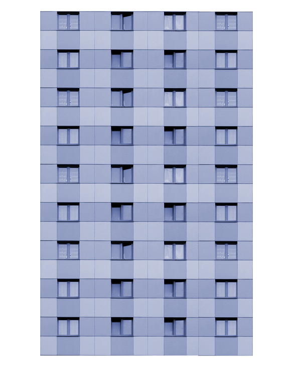 Blue Modern Highrise Multi-story Paper Building Sheet