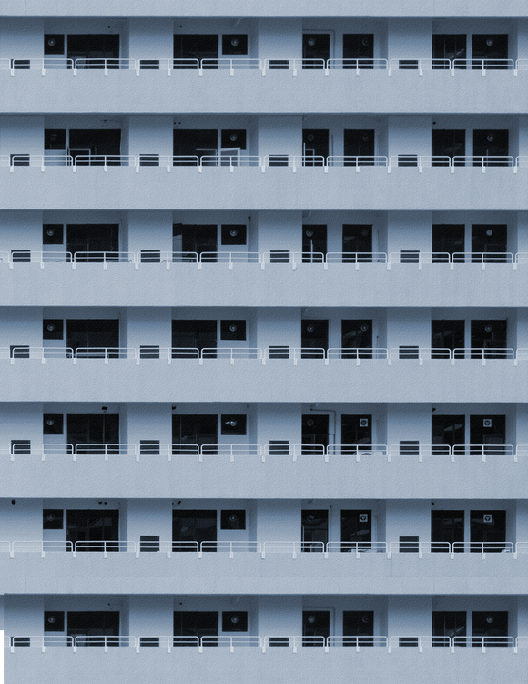 Blue Apartments Highrise Multi-story Paper Building Sheet