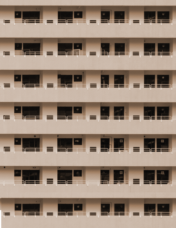 Tan Apartments Highrise Multi-story Paper Building Sheet