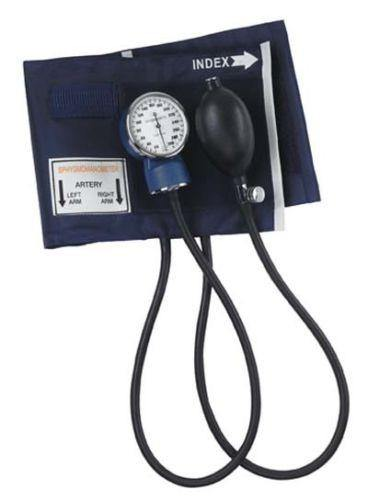 Mabis Aneroid Sphygmomanometer with Blue Nylon Cuff, Adult Blood Pressure Cuff - Scrubsnmed