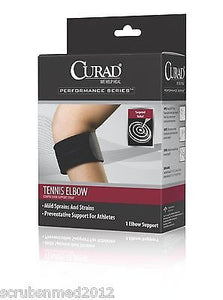 Tennis Elbow Compression Support Strap - Universal - Black , Braces & Supports - Curad, Scrubsnmed  - 1