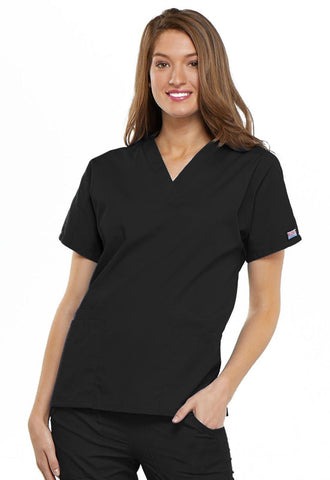 Cherokee WorkWear Originals V-Neck Top in Black