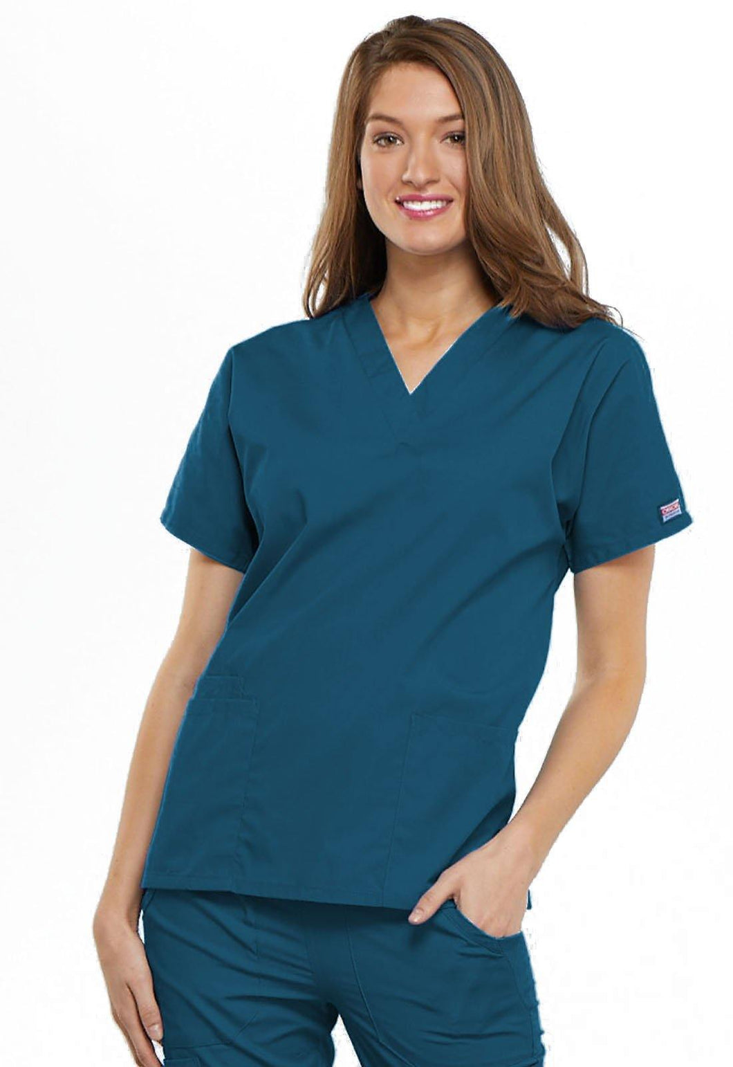 Cherokee WorkWear Originals V-Neck Scrub Top Caribbean Blue 4700 - Scrubsnmed