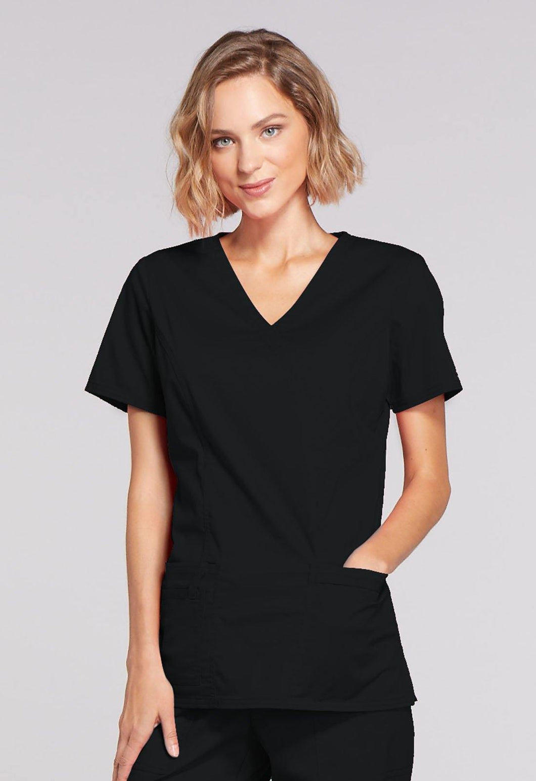 Cherokee WorkWear Core Stretch Mock Wrap Top  in Black - Scrubsnmed
