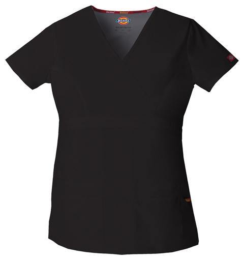 Dickies Mock Wrap Scrub Top - Black - Scrubsnmed