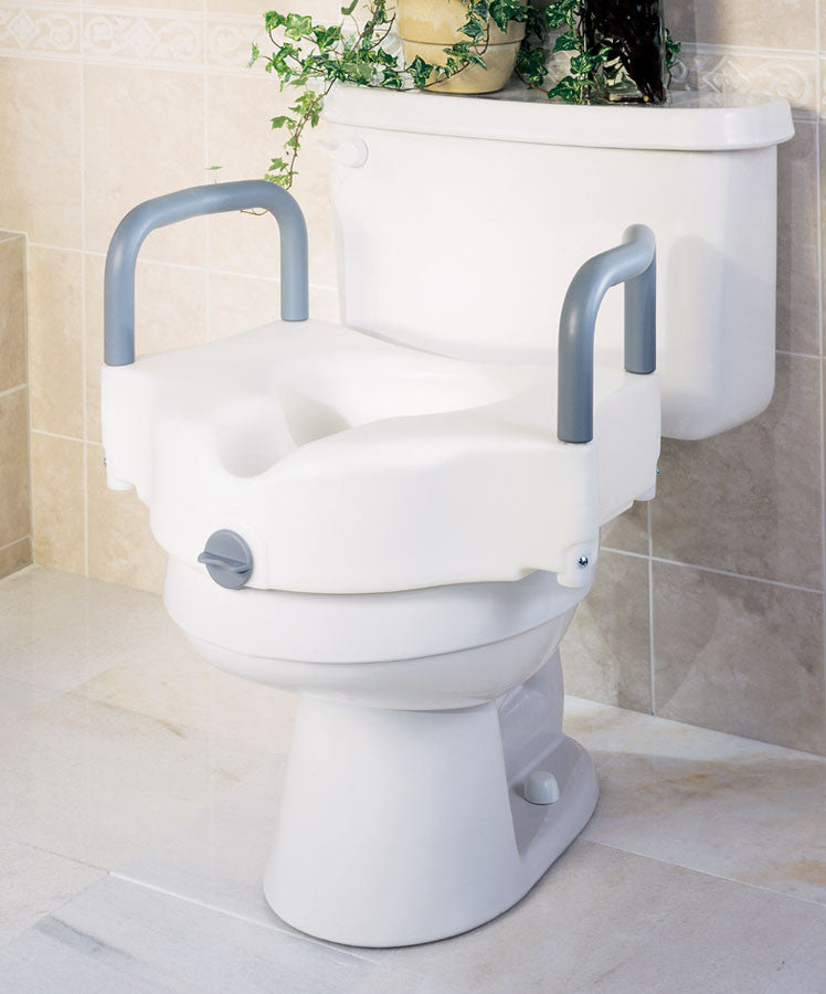 Medline Locking Raised Toilet Seat with Arms - Scrubsnmed