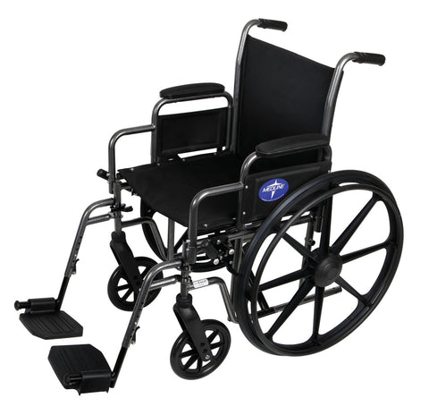 "Medline K1 18"" Wheelchair With Desk Length Arm With Standard Foot Rest - 300 lbs WT Capacity - Scrubsnmed"