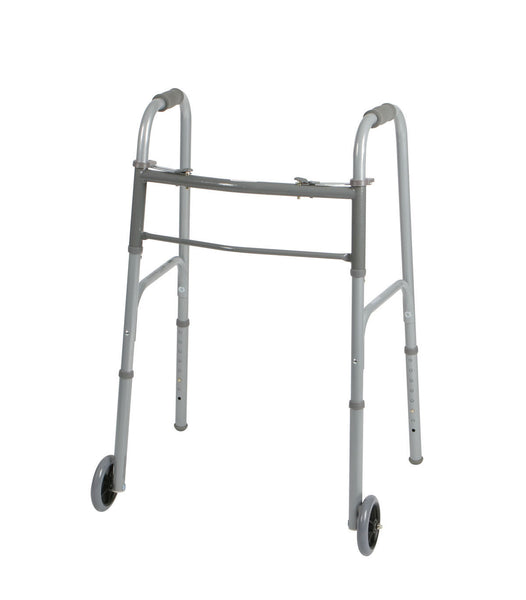 "Medline Two-Button Folding Walkers with 5"" Wheels - Scrubsnmed"