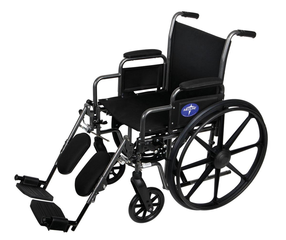 "Medline K1 18"" Wheelchair With Elevating Leg Rest - 300 lbs Weight Capacity - Scrubsnmed"