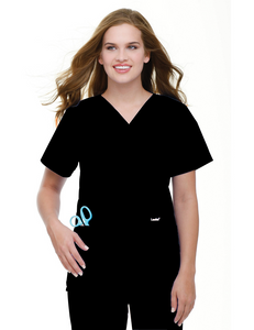 Landau Women's V-Neck Tunic Scrub Top - 8219 - Black - Scrubsnmed