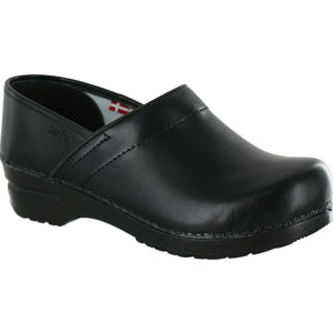 Sanita Women's Professional Clogs PU Leather Black -The Original Danish Clogs Since 1907 - Scrubsnmed