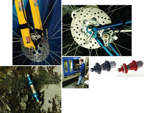 Original Hope brakes - there is a yellow fork, rear mtb frame, hubs, and an old cnc machine originally purchased by Hope Technology.