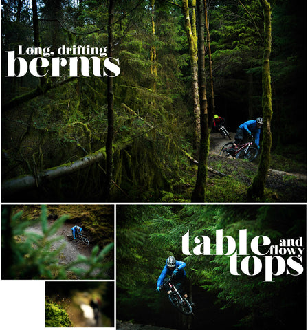 """""""Hope Line"""" descent at the local trail centre, Gisburn Forest. The red graded Hope Line incorporates long drifting berms and flowy table tops."""