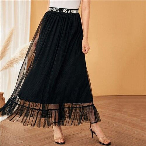 Long Black Style Skirt Bohemian