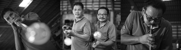 Craftsmen at a leading handmade glass factory in Thailand