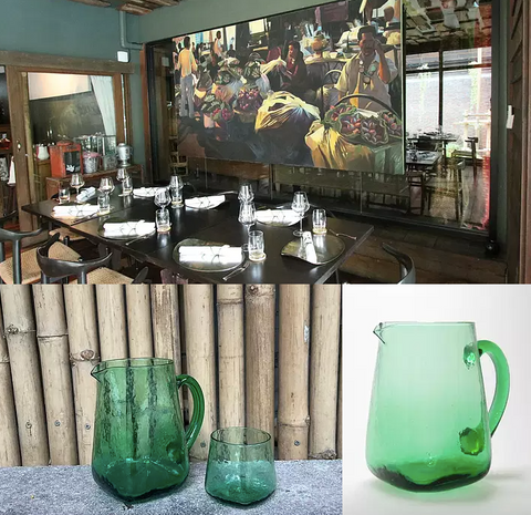Custom made water glass and pitcher, upcycled from old wine bottles. A collaboration between Etna Glass and Bo.Lan, a michelin-star restaurant in Bangkok