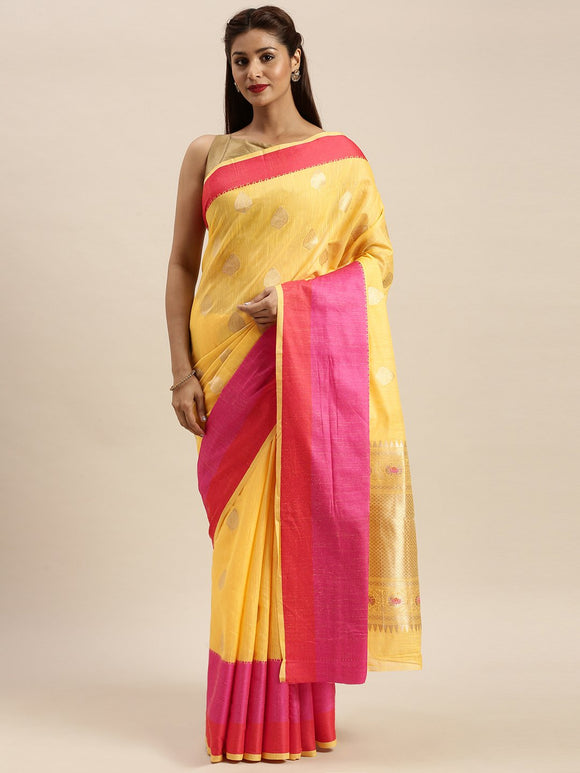 Yellow Woven Linen Silk Saree & Unstitched Blouse - Raspberry Blush