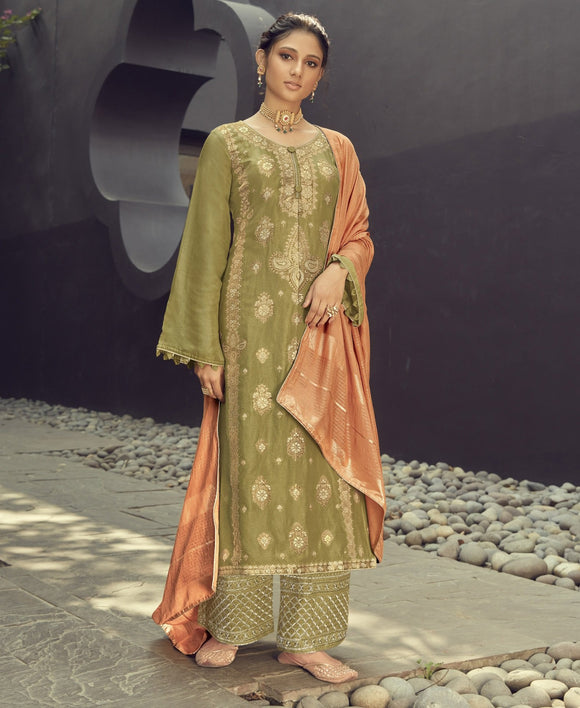Olive Green Embroidered Silk Jacquard Palazzo Suit (Semi-Stitched) - Raspberry Blush