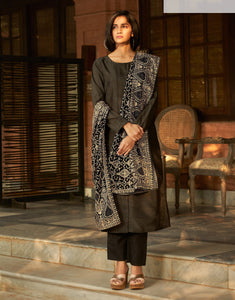 Gray Embroidered Stones Work Art Silk Straight Salwar Kameez Suit (Unstitched) - Raspberry Blush