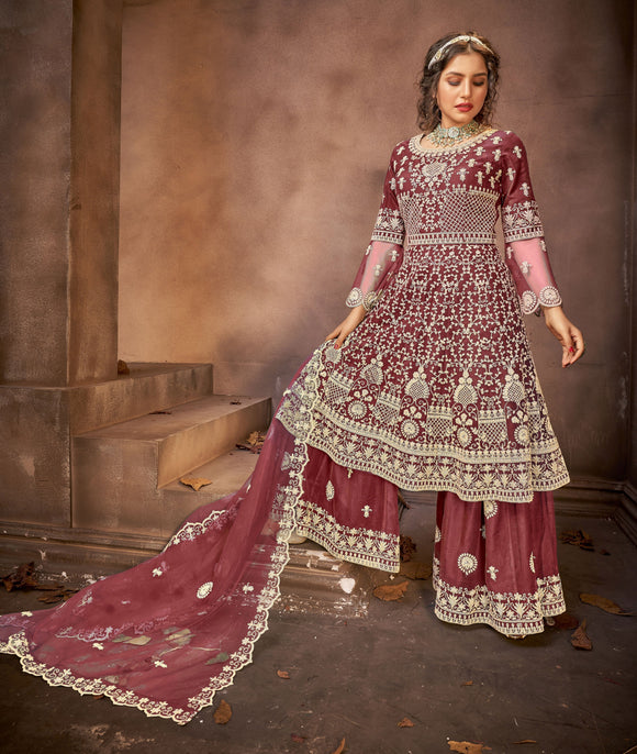 Wine Embroidered Stones Work Net Palazzo Suit (Semi-Stitched) - Raspberry Blush