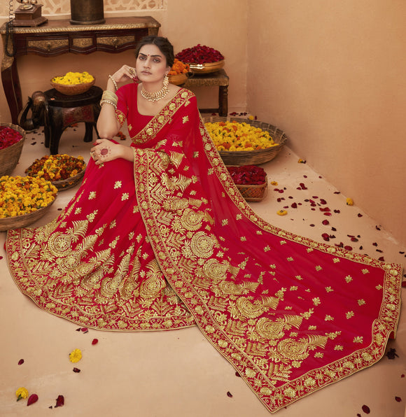 Red Embroidered Diamond Work Georgette Bridal Saree & Unstitched Blouse - Raspberry Blush