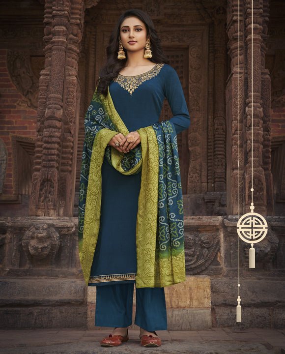 Blue Printed Embroidered Diamond Chinon Chiffon Straight Salwar Kameez Suit (Unstitched) - Raspberry Blush
