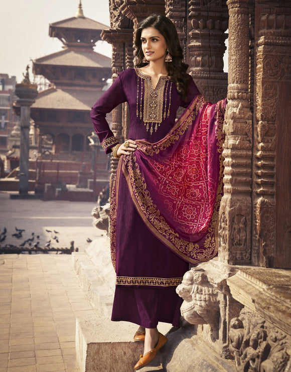 Purple Printed Embroidered Diamond Chinon Chiffon Straight Salwar Kameez Suit (Unstitched) - Raspberry Blush
