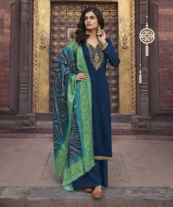 Navy Blue Printed Embroidered Diamond Chinon Chiffon Straight Salwar Kameez Suit (Unstitched) - Raspberry Blush