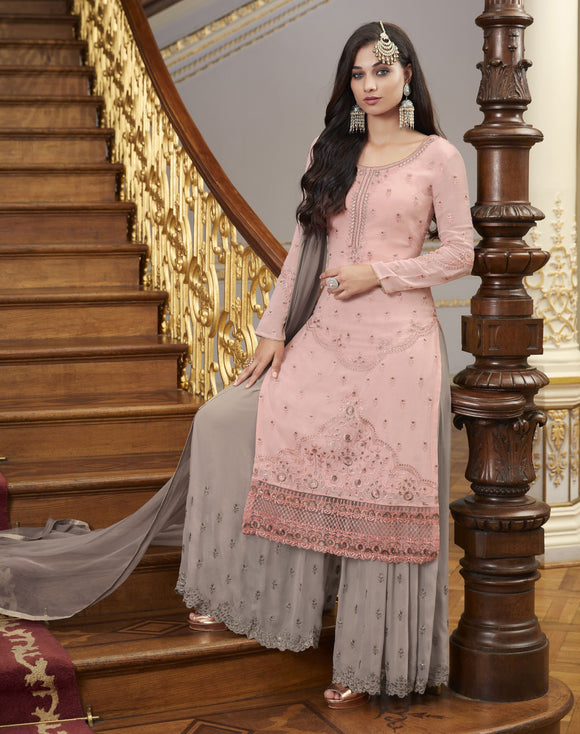 Pink Gray Embroidered Hand Work Georgette Palazzo Straight Salwar Kameez Suit (Unstitched) - Raspberry Blush