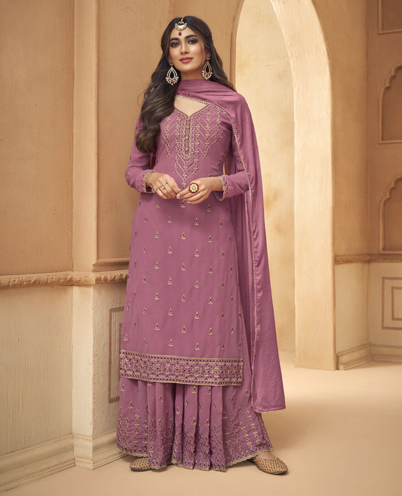 Pink Embroidered Hand Work Georgette Palazzo Suit (Unstitched) - Raspberry Blush