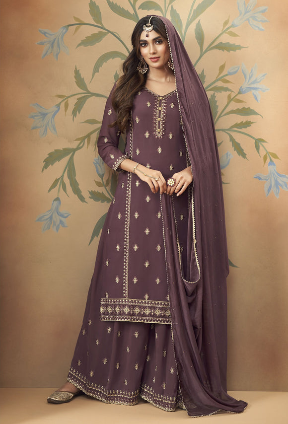 Wine Embroidered Hand Work Georgette Palazzo Suit (Unstitched) - Raspberry Blush