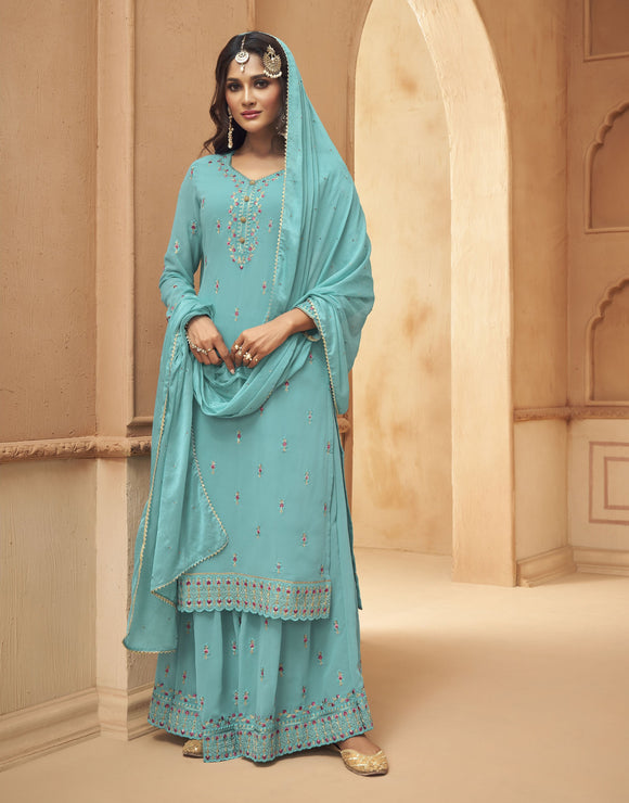 Sky Blue Embroidered Hand Work Georgette Palazzo Suit (Unstitched) - Raspberry Blush