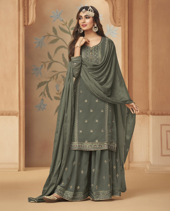 Greenish Gray Embroidered Hand Work Georgette Palazzo Suit (Unstitched) - Raspberry Blush
