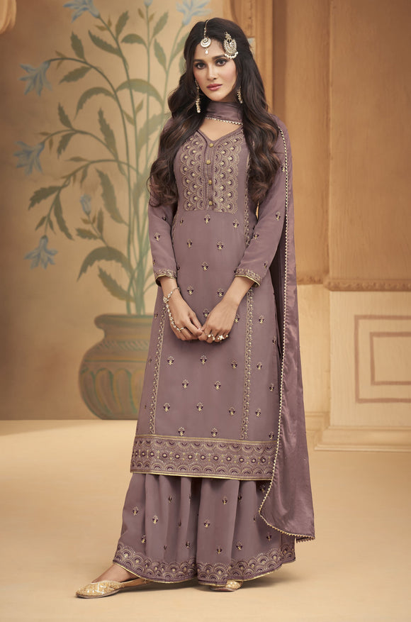 Mauve Embroidered Hand Work Georgette Palazzo Suit (Unstitched) - Raspberry Blush