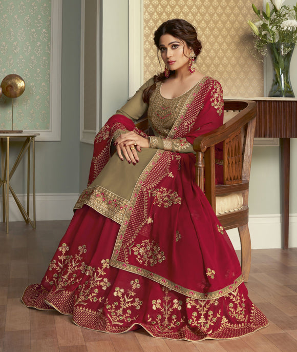 Chiku Red Zari Resham Embroidered Georgette Sharara Suit (Semi-Stitched) - Raspberry Blush