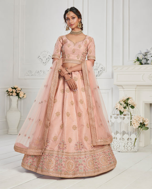 Dusty Pink Zari Embroidered Zarkan Work Silk Designer Lehenga Choli (Semi-Stitched)